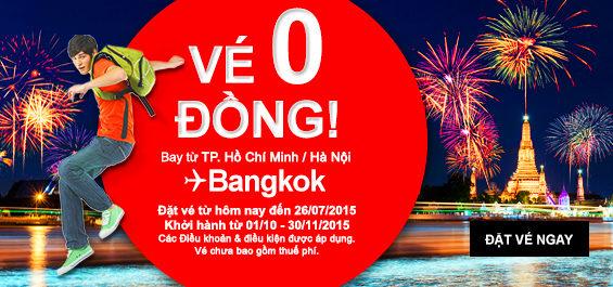 AirAsia miễn phí vé máy bay đi Bangkok