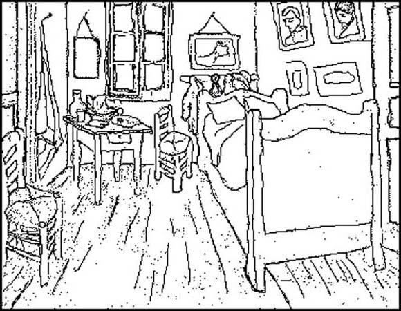 La habitacion de van gogh para colorear imagui - Habitacion para colorear ...