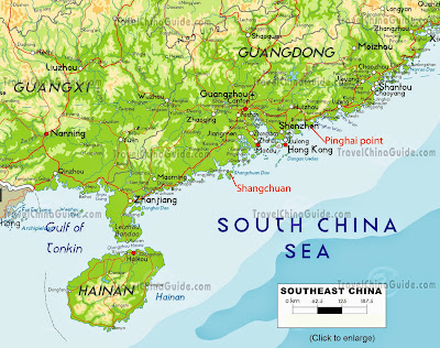 mapa do Sul da China