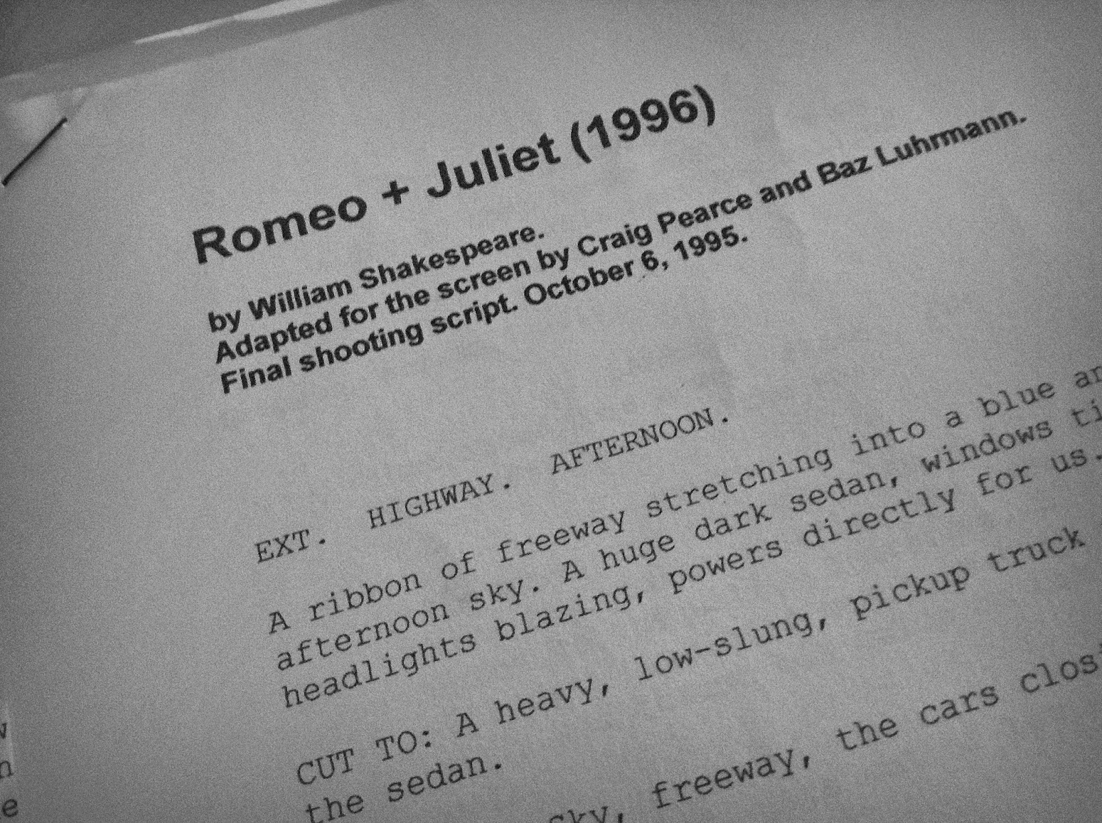romeo juliet movie vs script essay Just try not to get goosebumps when you see romeo and juliet check each other  out for the first time the movie comes out oct 11, and you.