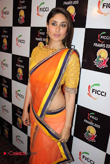 Kareena Kapoor Pictures in Saree at FICCI Frames 2013 Launch Event  0002