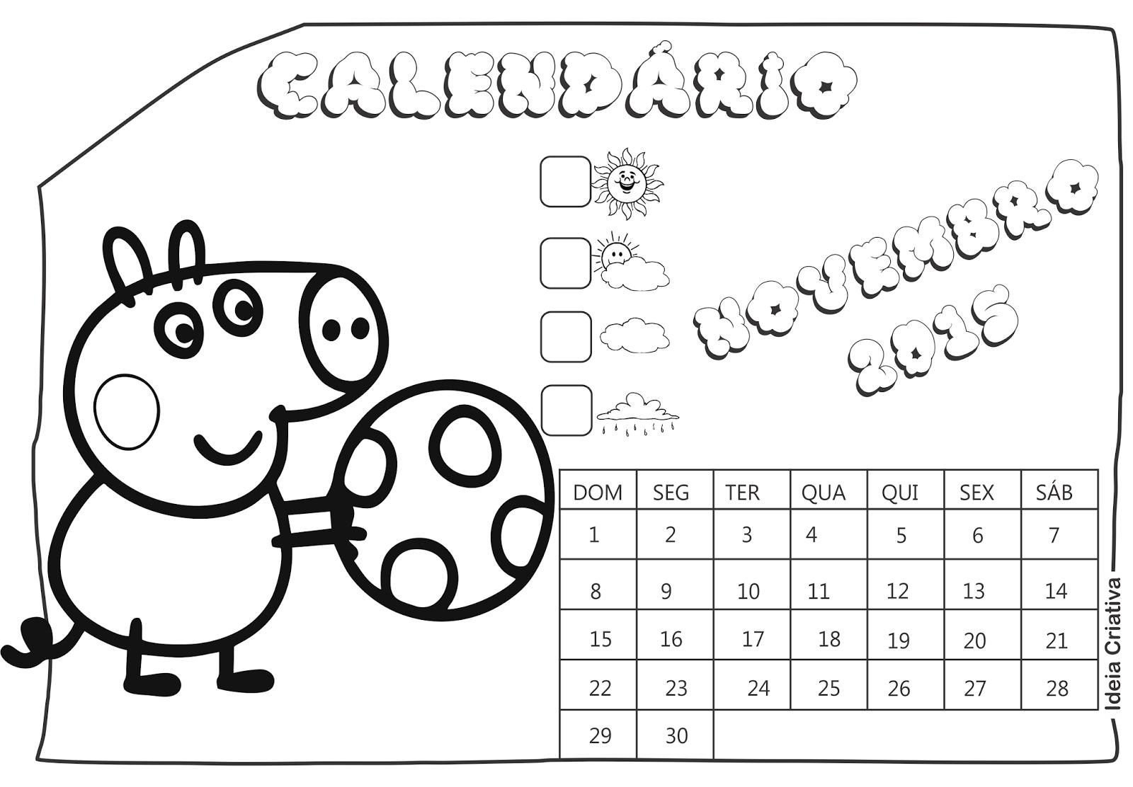 Calendário Novembro 2015 Peppa Pig e Seus Amigos para Imprimir Grátis
