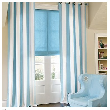 Or some French blue awning stripes in your drapes