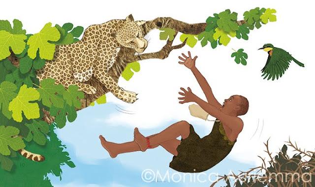 leopardo-cacciatore-albero-foglie-rovi-illustration