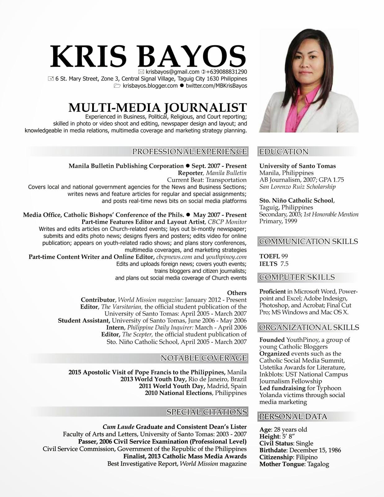 Updated Curriculum Vitae Kris Bayos