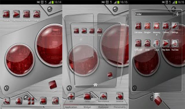 Next launcher theme Tech-red