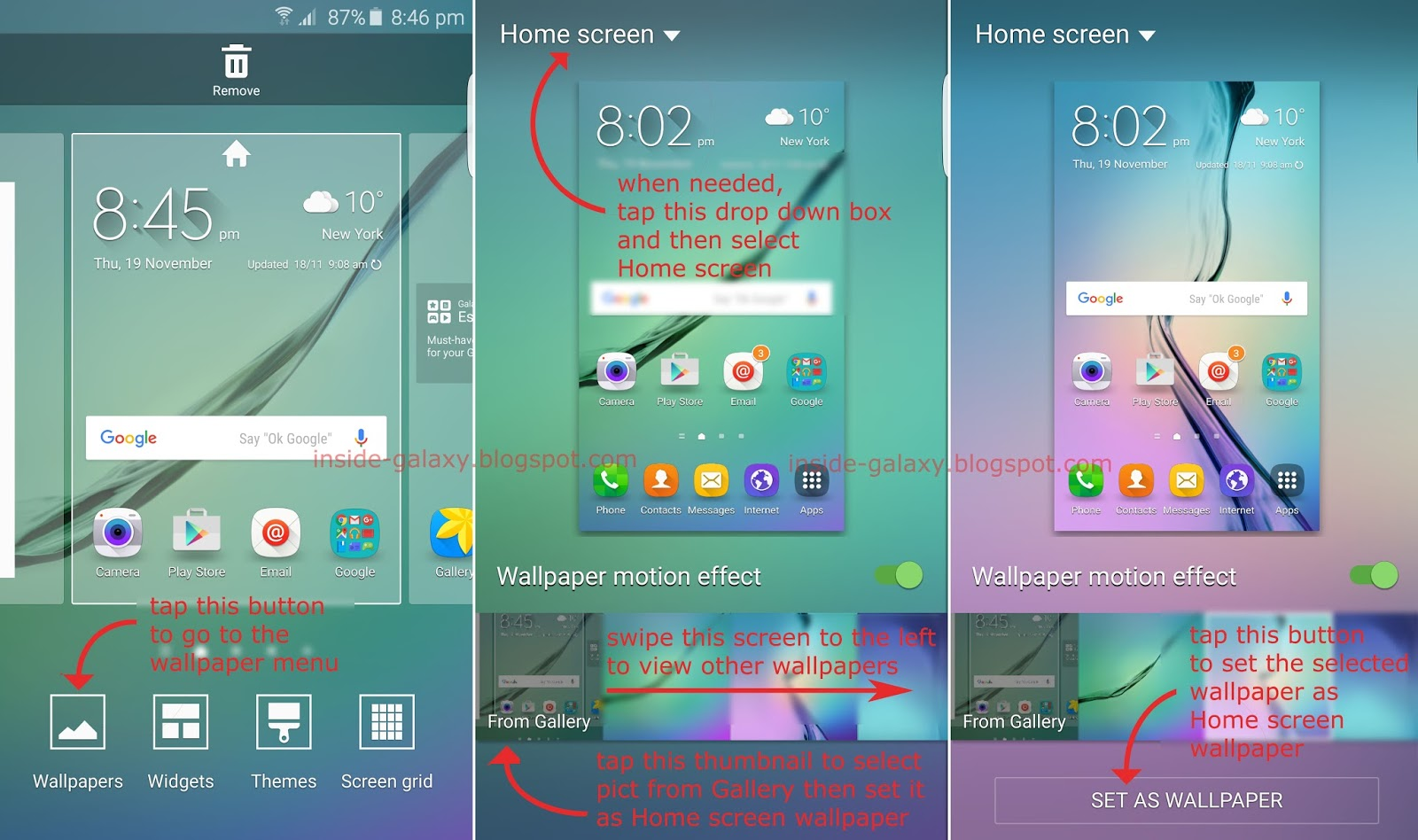 Samsung galaxy s6 edge how to change home screen for Change background wallpaper your home screen