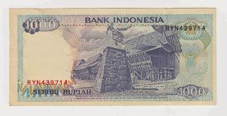 Pecahan 1000 Rupiah emisi 1992