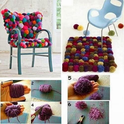 Mille idee casa la sedia fatta di pom pom for Mille idee per la casa
