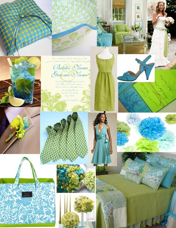 A Lime Green and Turquoise Wedding Photo