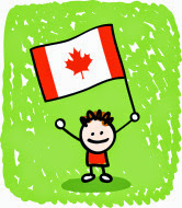 Cartoon kid holding Canadian flag