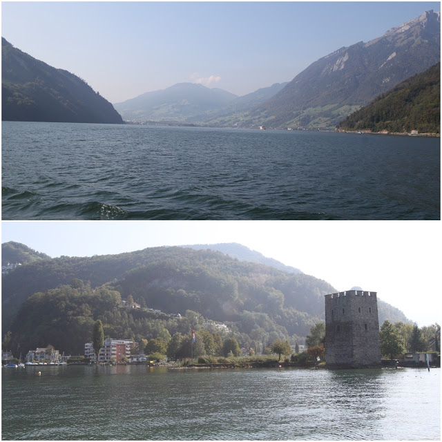 Beautiful Lake Lucerne, greenery mountains and a fortress in Lucerne, Switzerland