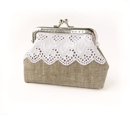 linen purse, льняной кошелек