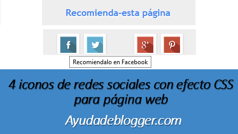 4 iconos de redes sociales con efecto CSS para página web