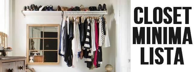 Closet minimalista com texto