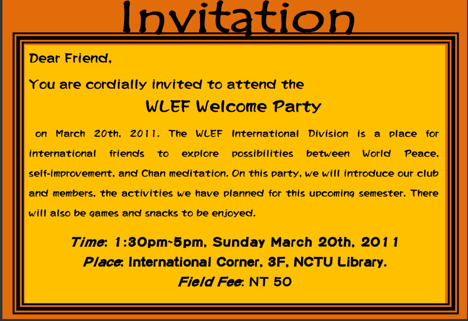 WLEF Chan Meditation Welcome Party in HSINCHU – Welcome Party Invitation Cards