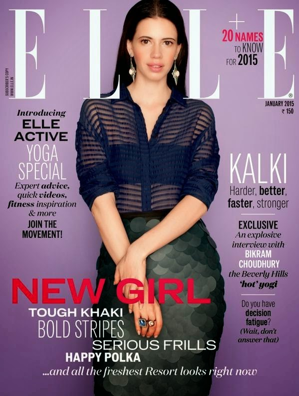 kalki koechlin on The Cover Page of Elle Magazine January 2015