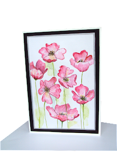 pink,poppies,lovely,beautiful,minipainting,greeting,watercolors,flowers