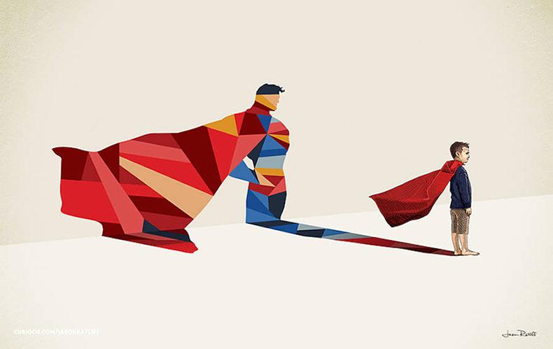 Sombras de Superheroes creadas por niños de Jason Ratliff