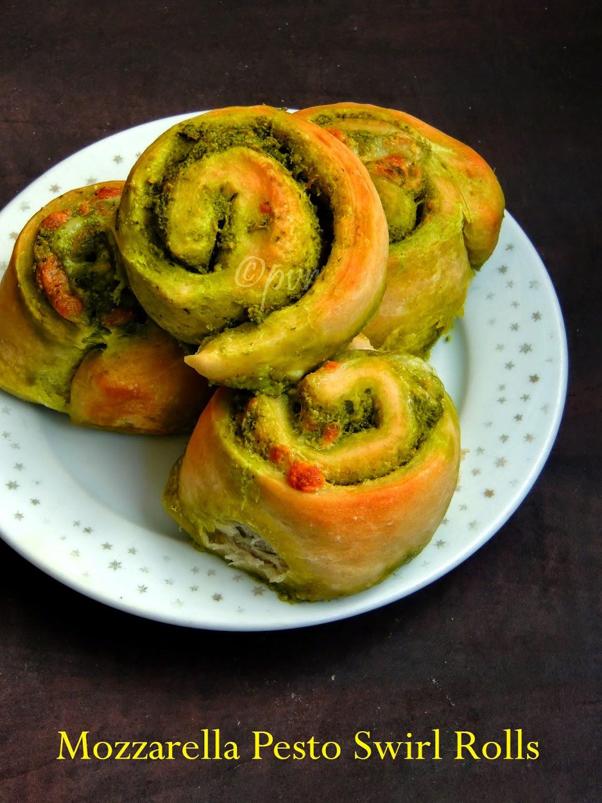 Mozzarella Pesto Swirl Rolls