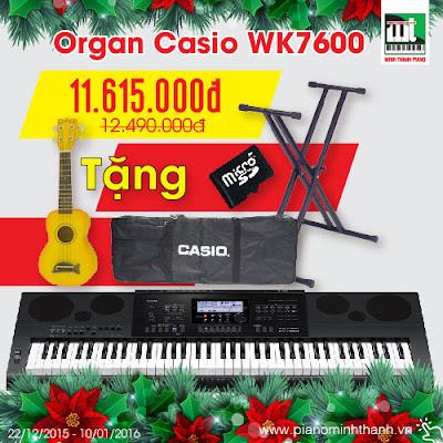 khuyen mai dan organ casio wk7600 giang sinh