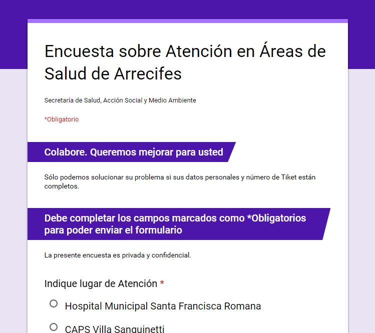 Encuesta sobre Atención en Áreas de Salud
