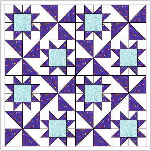 quiltontwerp met sterren en pinwheels
