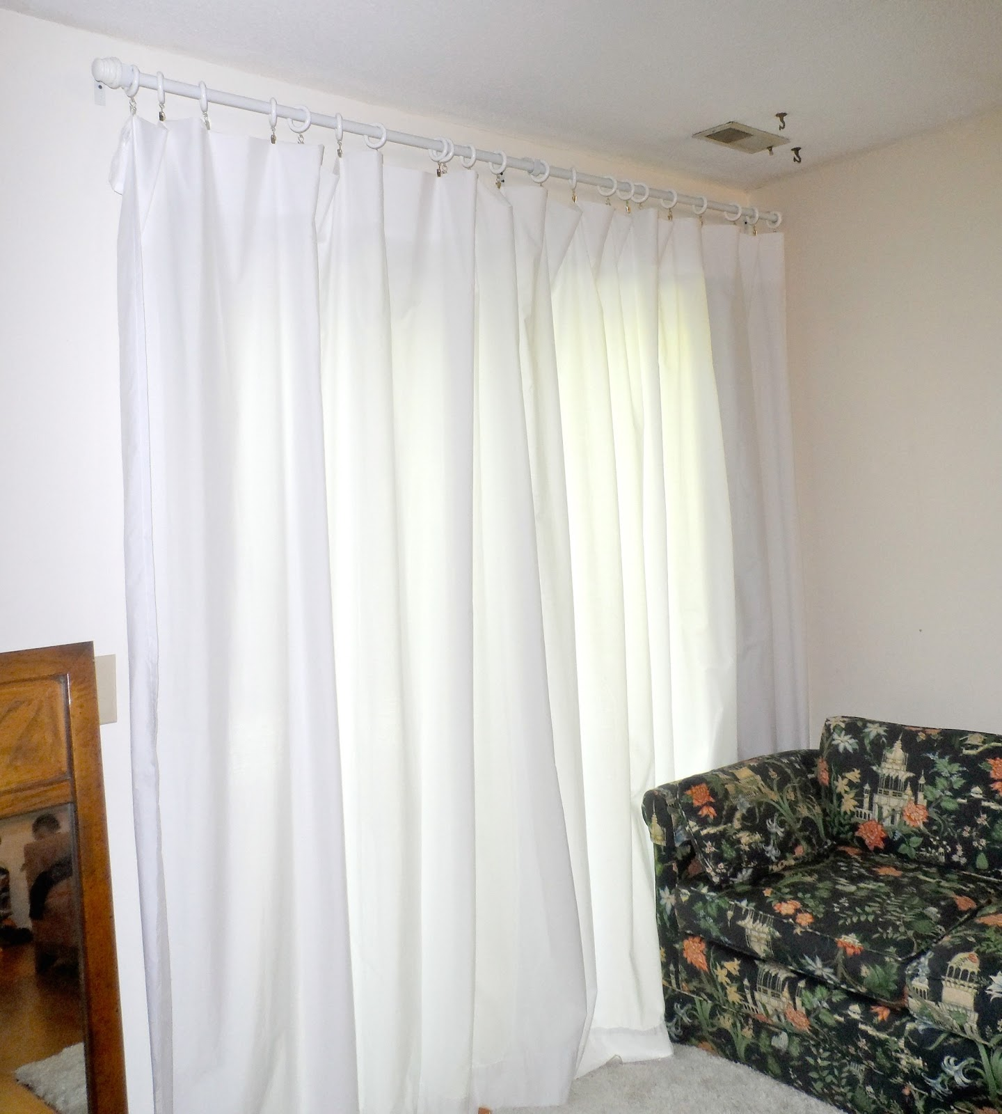 Diy Curtains From Sheets The curtain rod was a total