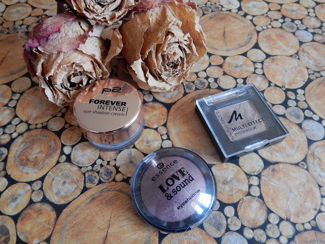 essence Love & sound LE - eyeshdow in 01 Glastonberry, Manhattan - Multi Effect Eyeshadow in 92Q Frappucino, p2 - Forever Intense eye shadow cream in 020 just as you are