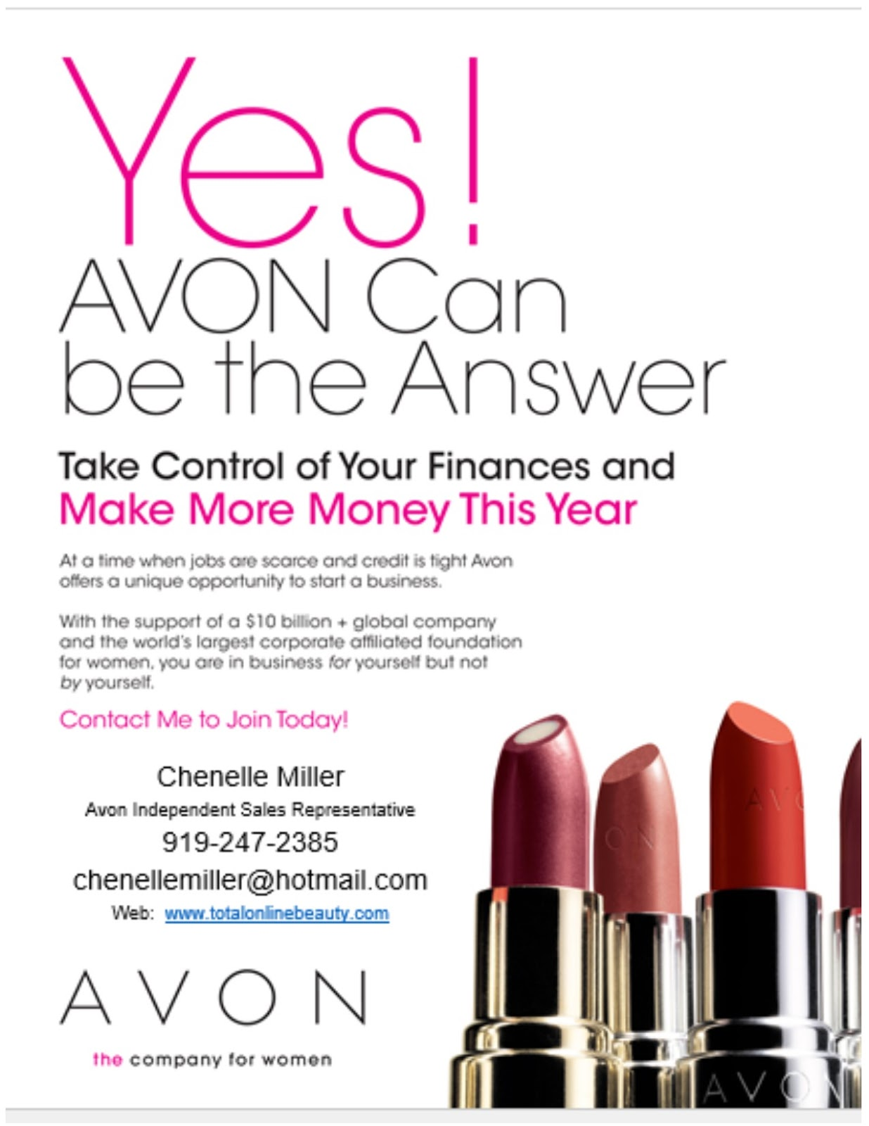 AVON is a world famous Beauty and Cosmetics brand with Years of proven success. They are currently looking for new full and part time representatives in the UK today.