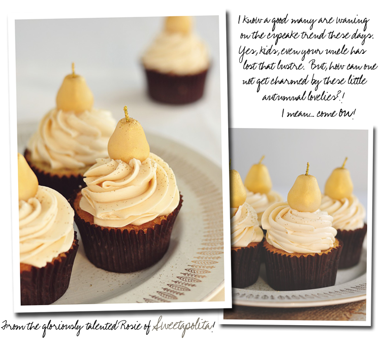 Sweetapolita Marzipan Pear Cupcakes