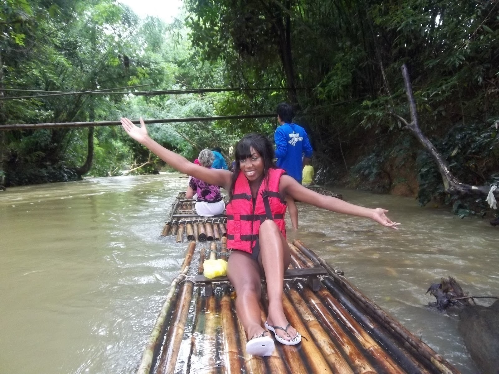 Bamboo rafting in Thailand, khao lak safari review thailand, black girl water rafting