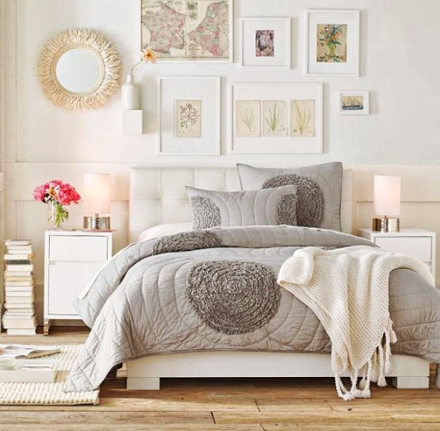 white bedroom with grey bedding