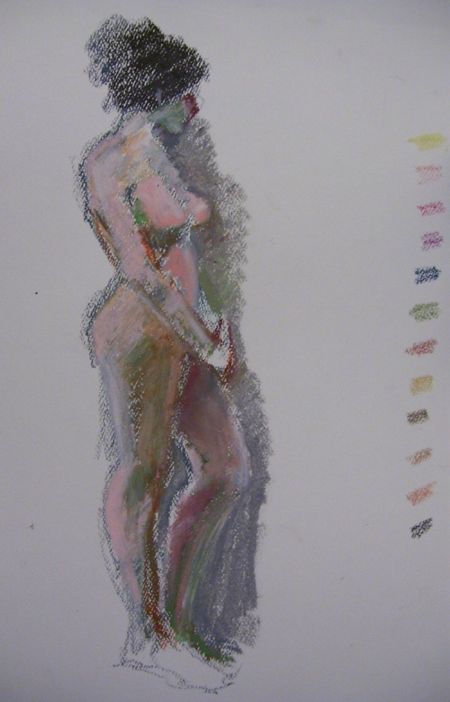 Nude drawings with pastels