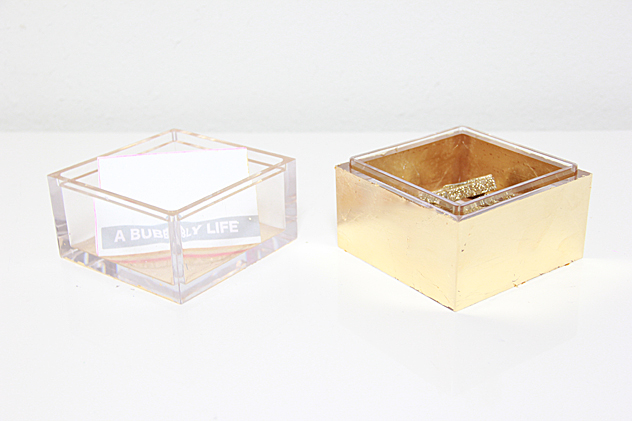 A Bubbly Life Gold Leaf DIY Lucite Office Supplies