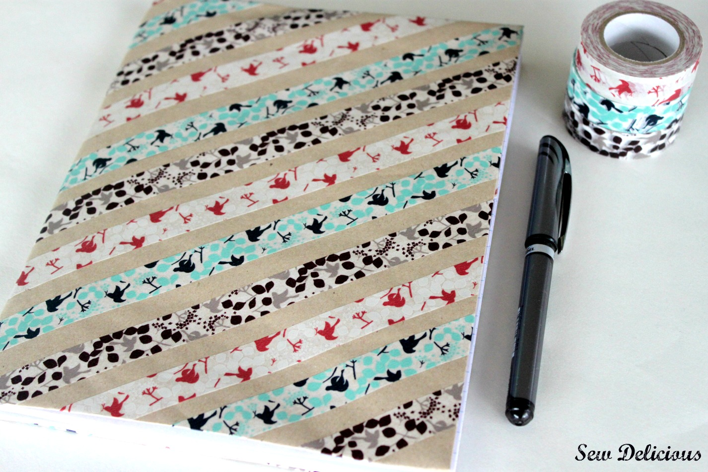 Diy School Book Cover ~ Washi covered notebook tutorial sew delicious