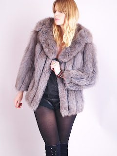 Vintage 1970's gunmetal grey shaggy fox fur coat with large collar.