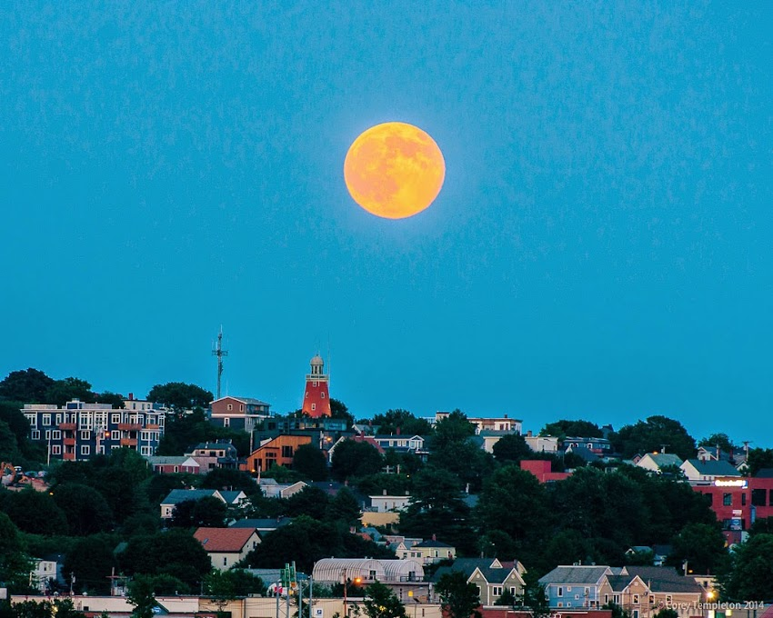 Portland, Maine Munjoy Hill Summer July 2014 Full Moon rising over Munjoy Hill across Back Cove photo by Corey Templeton