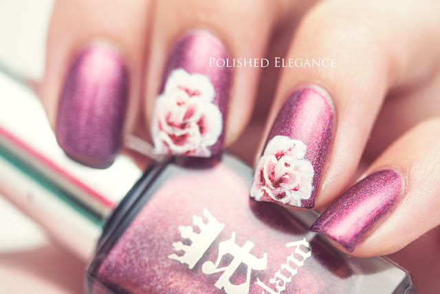 one stroke roses nail art one stroke flowers manicure A England - Briar Rose nail polish