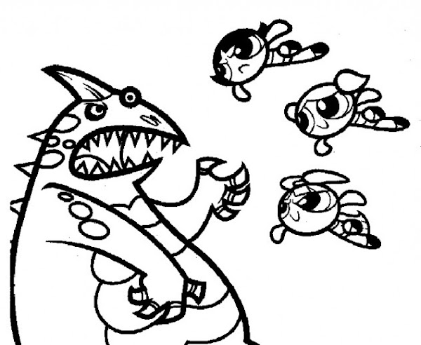 Cute cartoon fish coloring pages for Powerpuff girls coloring pages