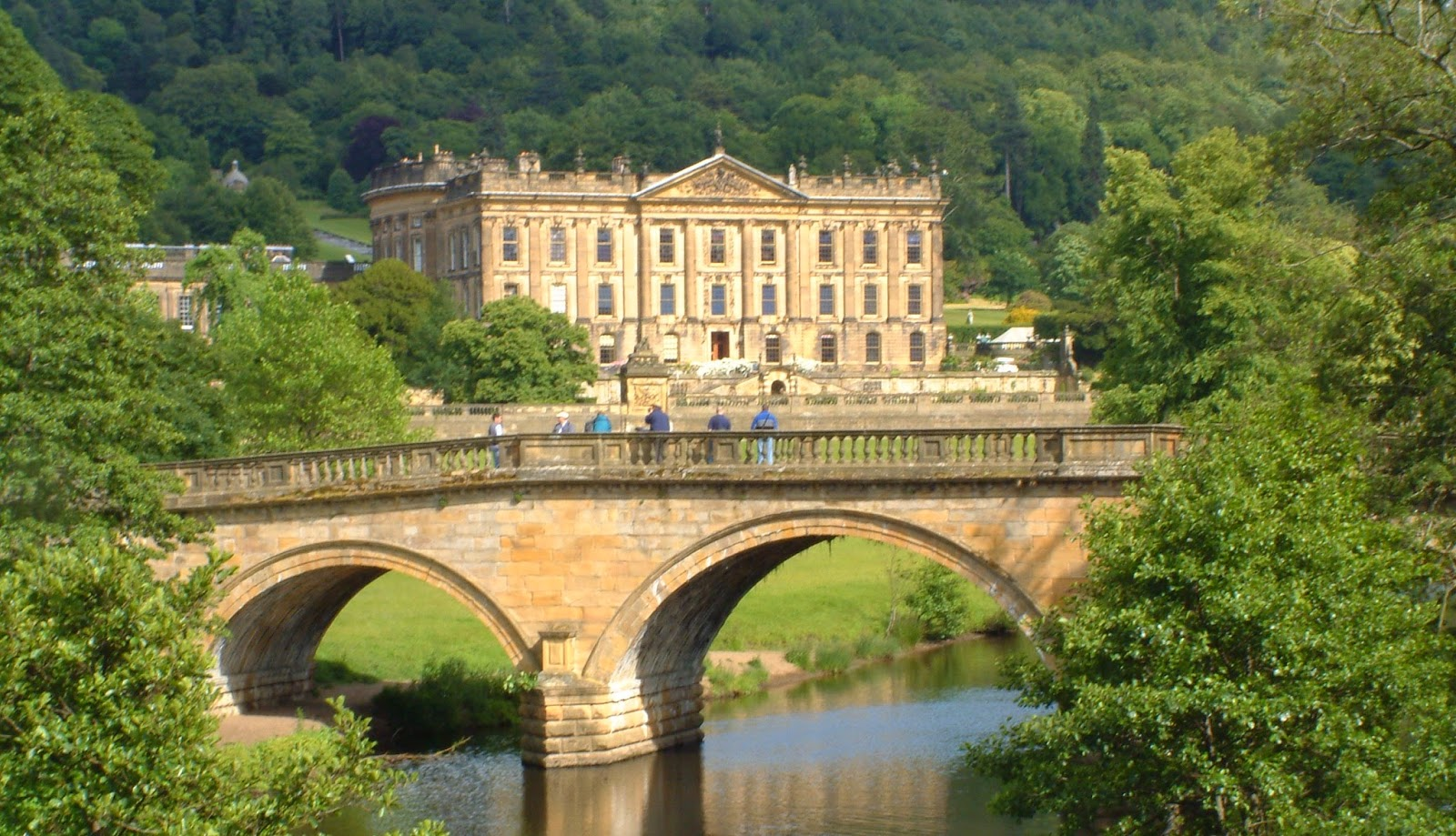 Chatsworth House and Chatsworth Bridge, via Wikimedia