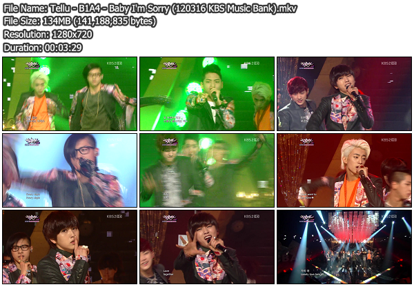 [Perf] B1A4   Baby Im Sorry @ KBS Music Bank 120316