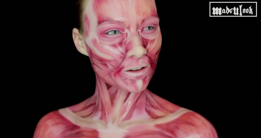 come truccarsi ad halloween, halloween make up tutorial, halloween maschera scheletro muscoli, madeyewlook, viso muscoli