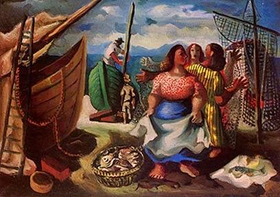 pintura de pescadores