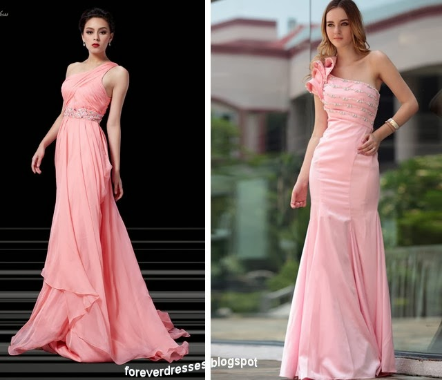 pink one shoulder bridesmaid dresses