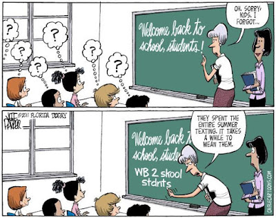 teacher humor, back to school funny, back to school cartoon, students texting