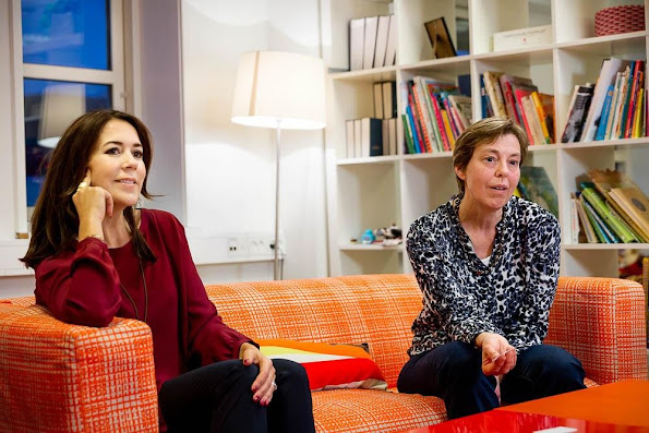 "Crown Princess Mary of Denmark visited Slagelse Red Cross Center. Crown Princess made this visit in order to monitor the works of the network project ""War against loneliness"" (Vaerket)"