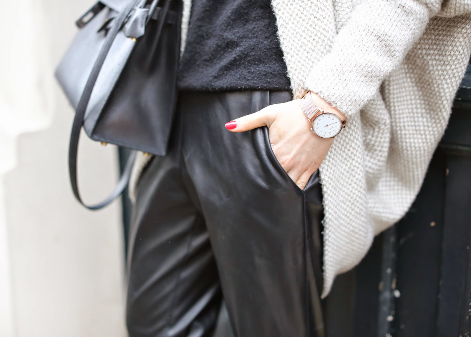 streetstyle, casual, zara, chloé susanna, fur, hermès, leather pants, fashion blogger, pardon my obsession