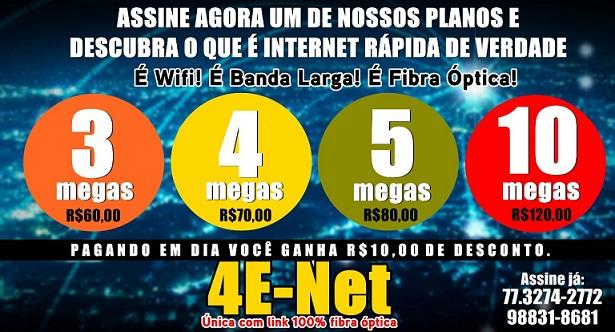 4E-NET A INTERNET NA VELOCIDADE DA SUA NECESSIDADE