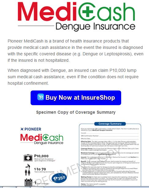 MediCash Dengue insurance